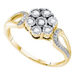 925 Sterling Silver Yellow 0.12CTW DIAMOND FLOWER RING