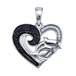 925 Sterling Silver White 0.17CTW DIAMOND HEART PENDANT