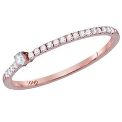 10kt Rose Gold Womens Round Diamond Solitaire Stackable