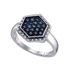 925 Sterling Silver White 0.18CTW BLUE DIAMOND CLUSTER