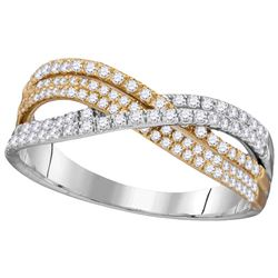 10kt Two-tone Gold Womens Round Diamond Crossover Band