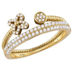 10kt Yellow Gold Womens Round Diamond Flower Bisected S