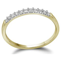 14kt Yellow Gold Womens Round Diamond Band Wedding Anni