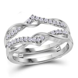 10kt White Gold Womens Round Diamond Wrap Ring Guard En