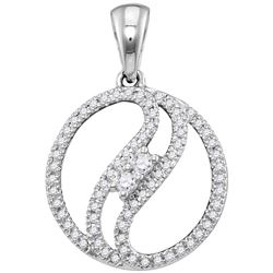 10kt White Gold Womens Round Diamond 2-stone Divided Ci