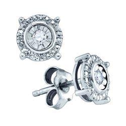 925 Sterling Silver White 0.10CTW DIAMOND FASHION EARRI