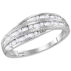 Womens 10K White Gold Swirl Baguette Diamond Wedding En