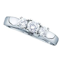 14KT White Gold 0.25CTW DIAMOND 3 STONE RING(SUPREME)