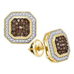 10K Yellow-gold 0.50CTW COGNAC DIAMOND MICRO-PAVE EARRI