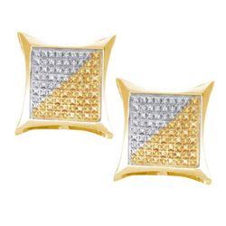 925 Sterling Silver Yellow 0.25CTW DIAMOND MICRO PAVE E