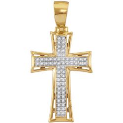 10kt Yellow Gold Mens Round Diamond Flared Cross Charm