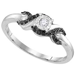 Sterling Silver Womens Round Natural Diamond Solitaire