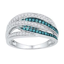 10KT White Gold 0.42CTW BLUE DIAMOND FASHION BAND