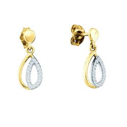 10KT Yellow Gold 0.11CTW DIAMOND FASHION EARRING