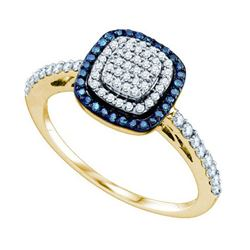 10KT Yellow Gold 0.43CTW BLUE DIAMOND FASHION RING