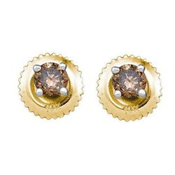 10KT Yellow Gold 0.26CTW COGNAC DIAMOND STUD EARRING
