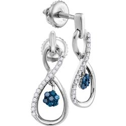 Sterling Silver Womens Round Blue Colored Diamond Infin