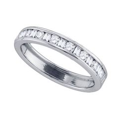 14KT White Gold 0.25CT-Diamond MACHINE-SET BAND