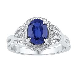 Sterling Silver Womens Oval Lab-Created Blue Sapphire S