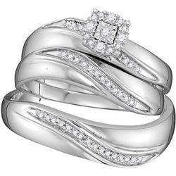 Sterling Silver Round Diamond His & Hers Matching Weddi