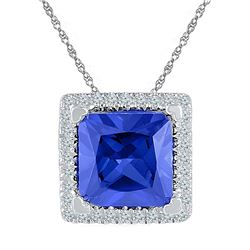 Sterling Silver Womens Princess Lab-Created Blue Sapphi