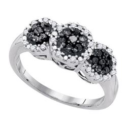 10K White-gold 0.34CTW-DIA BLACK DIAMOND FASHION RING