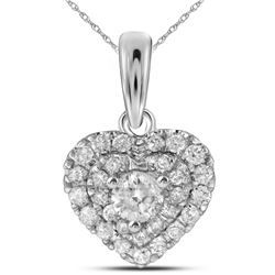 14kt White Gold Womens Round Diamond Heart Love Pendant