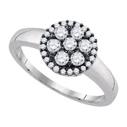925 Sterling Silver White 0.50CTW DIAMOND FLOWER RING