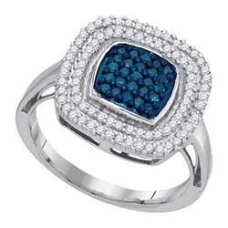10KT White Gold 0.50CTW BLUE DIAMOND FASHION RING