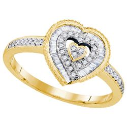 10K Yellow-gold 0.24CTW DIAMOND HEART RING