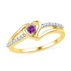 10kt Yellow Gold Womens Lab-Created Amethyst Heart Love