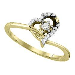 10k Yellow Gold Round Diamond Womens Heart Dainty Promi