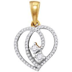 10kt Yellow Gold Womens Round Diamond 2-Stone Hearts To