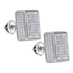 925 Sterling Silver White 0.46CTW DIAMOND MICRO-PAVE EA