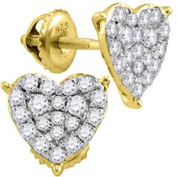 10kt Yellow Gold Womens Round Diamond Heart Cluster Stu