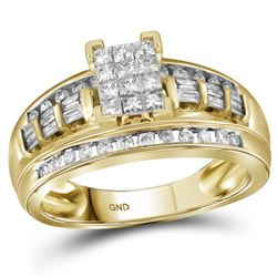 10kt Yellow Gold Womens Princess Diamond Cluster Bridal