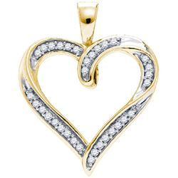 10K Yellow-gold 0.10CTW DIAMOND MICRO PAVE HEART PENDAN