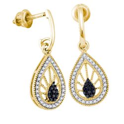 10K Yellow-gold 0.25CT BLACK DIAMOND MICRO-PAVE EARRING