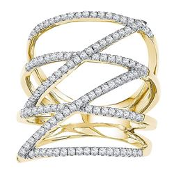 10kt Yellow Gold Womens Round Diamond Crossover Strand