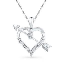 10KT White Gold 0.08CTW DIAMOND FASHION PENDANT