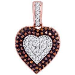 10KT Rose Gold 0.25CTW-Diamond HEART PENDANT