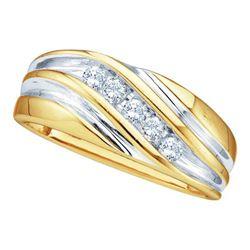 10KT Yellow Gold 0.25CTW DIAMOND FASHION MENS BAND