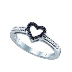 10K White-gold 0.12CTW BLACK DIAMOND LADIES HEART RING