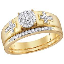 10kt Yellow Gold Womens Natural Diamond Cluster Cross B