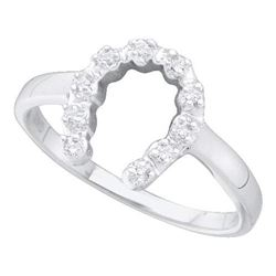 14KT White Gold 0.05CT DIAMOND HORSE SHOE RING
