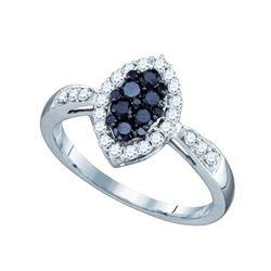 10K White-gold 0.56CT BLACK DIAMOND FASHION RING