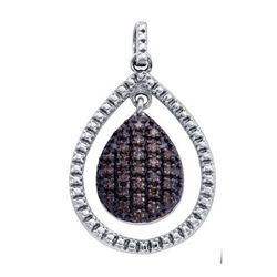 925 Sterling Silver White 0.40CTW COGNAC DIAMOND LADIES