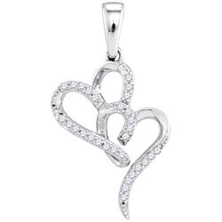 10KT White Gold 0.10CTW DIAMOND HEART PENDANT