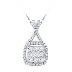 10KT White Gold 0.50CTW DIAMOND FASHION PENDANT