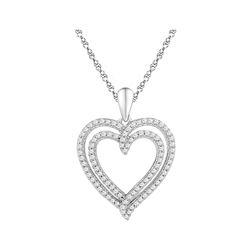10kt White Gold Womens Round Diamond Double Frame Heart